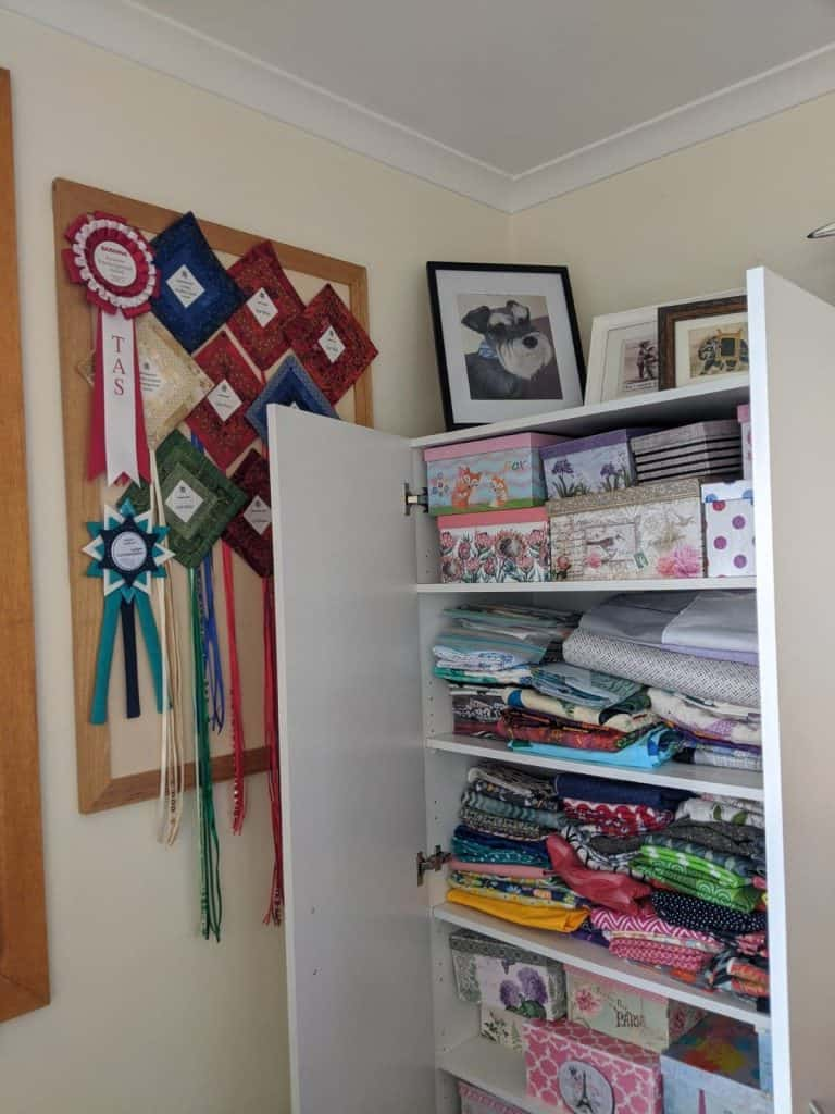 Some of Faye's ribbons, stash, books, etc.