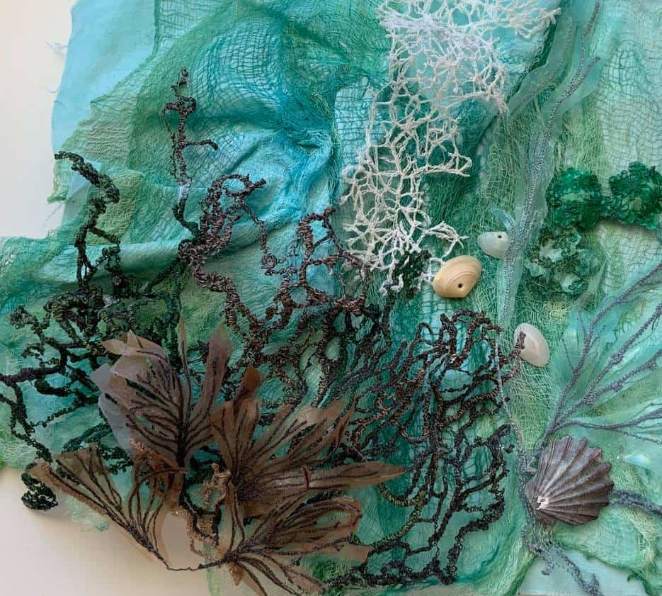 Sea Themed Collage Created with Wash-Away Fabric